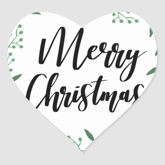 Christmas Wreath, Merry Christmas, Happy Holidays Heart Sticker
