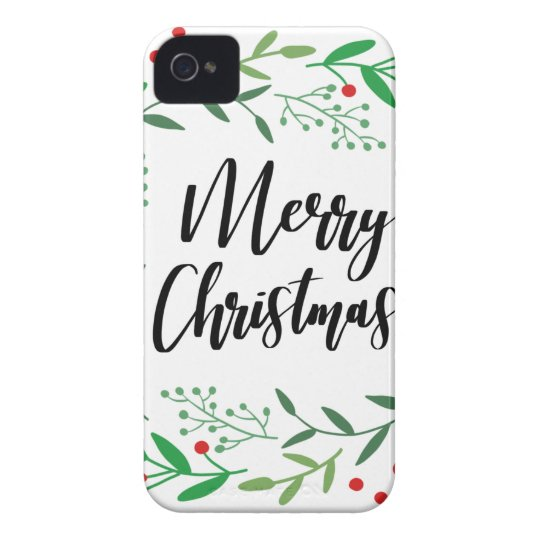 Christmas Wreath, Merry Christmas, Happy Holidays iPhone 4 Case-Mate Case