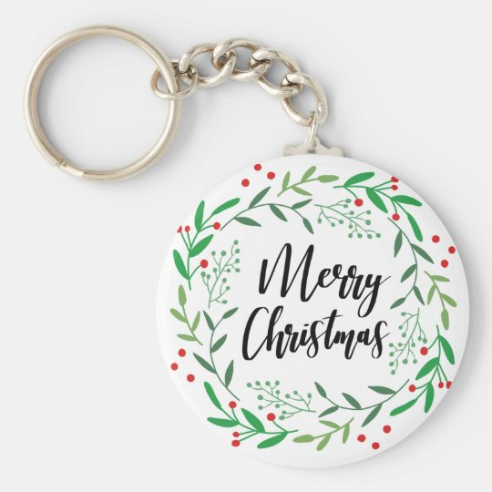 Christmas Wreath, Merry Christmas, Happy Holidays Key Ring