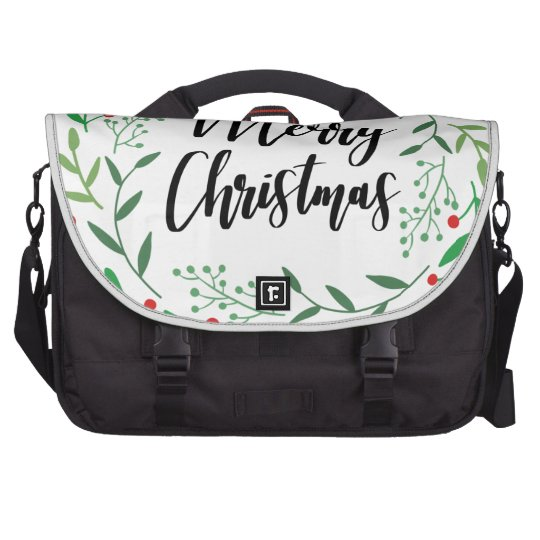 Christmas Wreath, Merry Christmas, Happy Holidays Laptop Bags