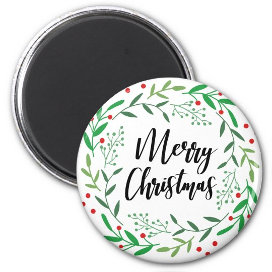 Christmas Wreath, Merry Christmas, Happy Holidays Magnet