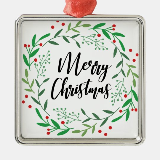 Christmas Wreath, Merry Christmas, Happy Holidays Metal Ornament