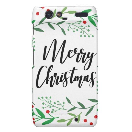 Christmas Wreath, Merry Christmas, Happy Holidays Motorola Droid RAZR Cases