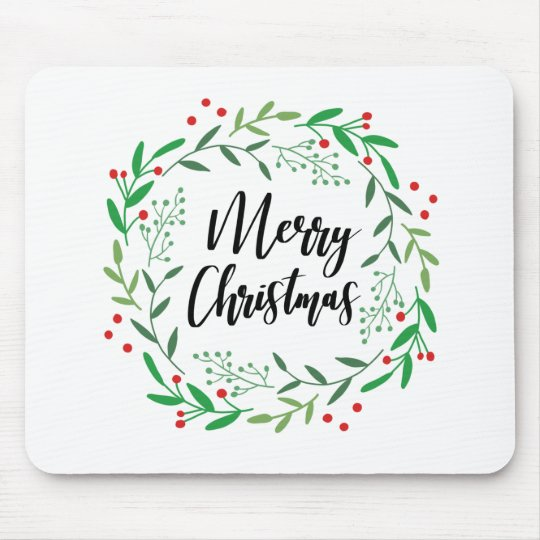 Christmas Wreath, Merry Christmas, Happy Holidays Mouse Pad