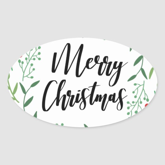 Christmas Wreath, Merry Christmas, Happy Holidays Oval Sticker