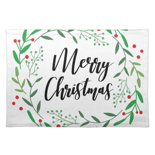 Christmas Wreath, Merry Christmas, Happy Holidays Placemat