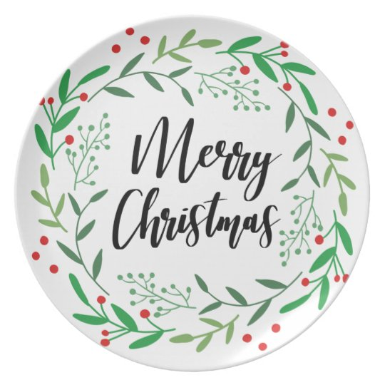 Christmas Wreath, Merry Christmas, Happy Holidays Plate