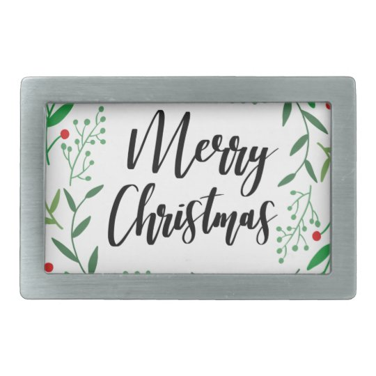 Christmas Wreath, Merry Christmas, Happy Holidays Rectangular Belt Buckles