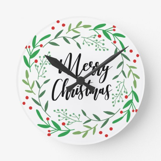Christmas Wreath, Merry Christmas, Happy Holidays Round Clock