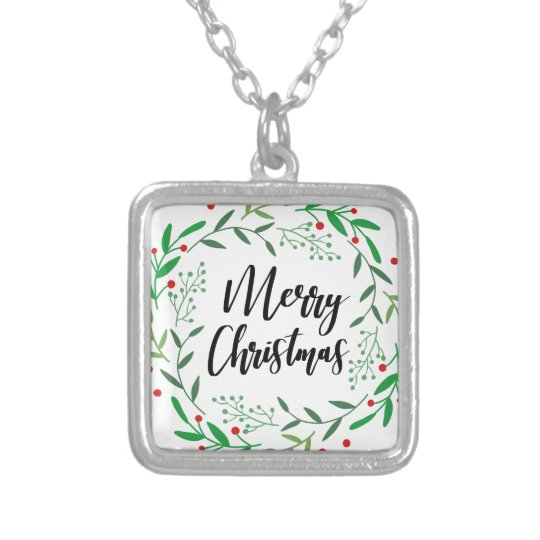 Christmas Wreath, Merry Christmas, Happy Holidays Silver Plated Necklace