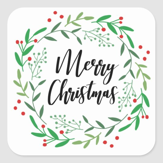 Christmas Wreath, Merry Christmas, Happy Holidays Square Sticker
