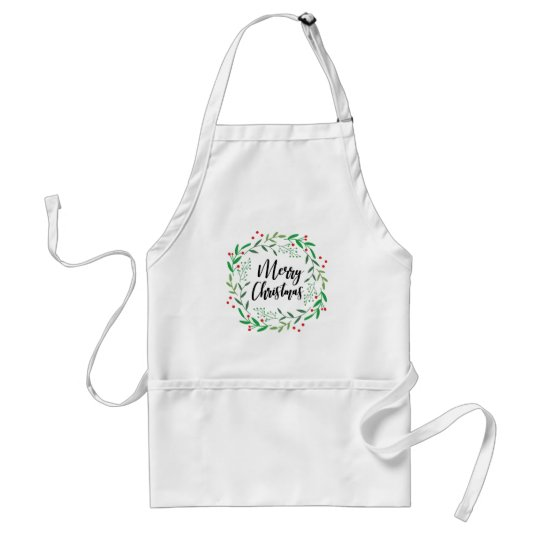 Christmas Wreath, Merry Christmas, Happy Holidays Standard Apron
