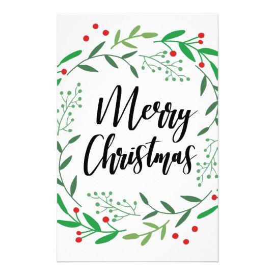 Christmas Wreath, Merry Christmas, Happy Holidays Stationery