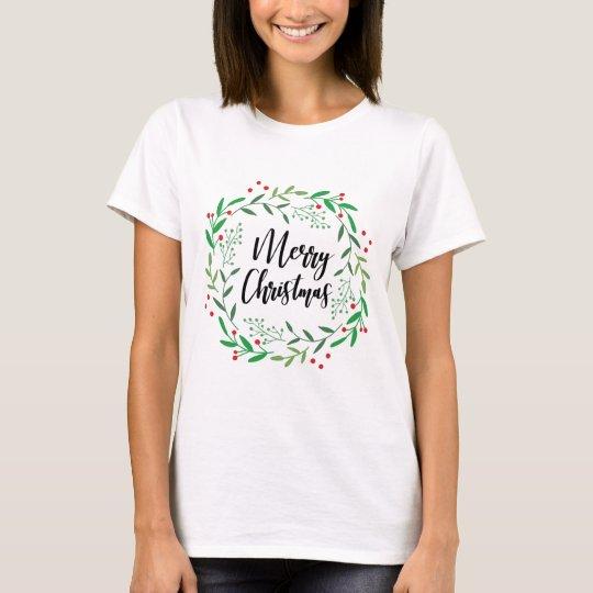 Christmas Wreath, Merry Christmas, Happy Holidays T-Shirt