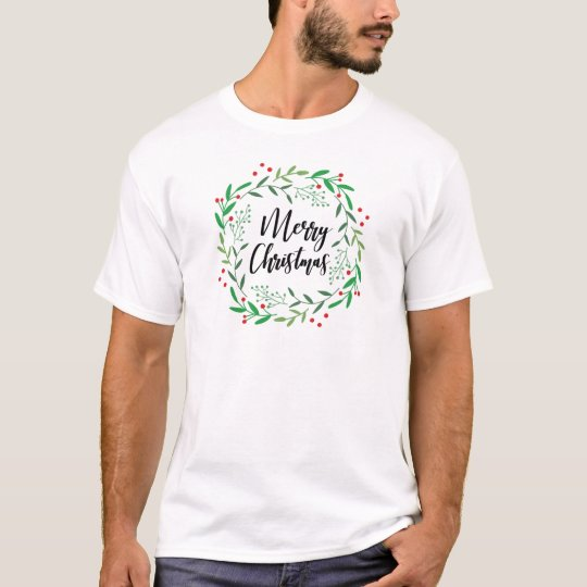 Christmas Wreath, Merry Christmas, Happy Holidays T-Shirt