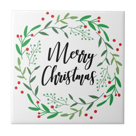Christmas Wreath, Merry Christmas, Happy Holidays Tile