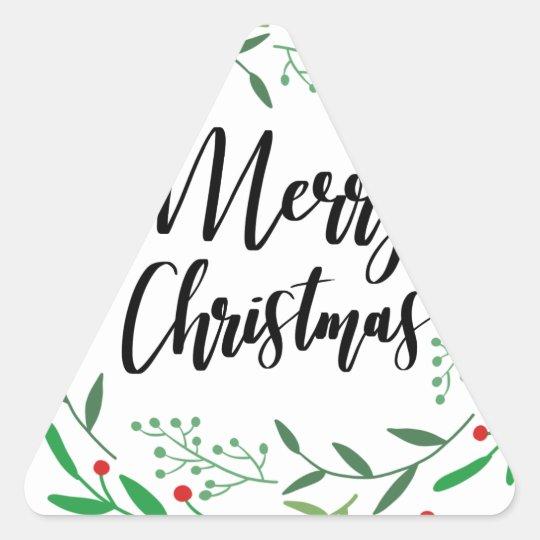 Christmas Wreath, Merry Christmas, Happy Holidays Triangle Sticker