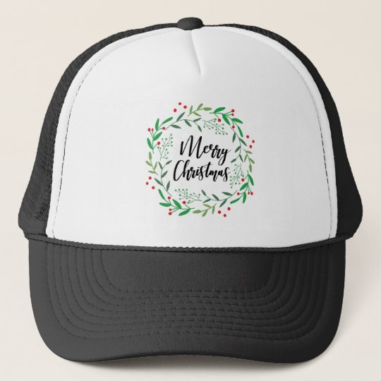 Christmas Wreath, Merry Christmas, Happy Holidays Trucker Hat