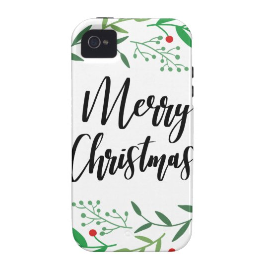 Christmas Wreath, Merry Christmas, Happy Holidays Vibe iPhone 4 Cases