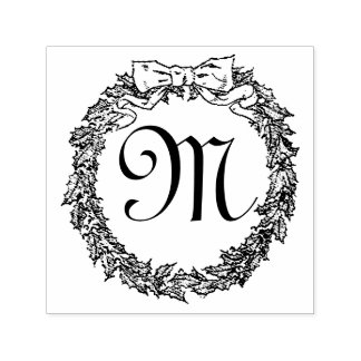 Christmas Wreath Monogram Personalize Self-inking Stamp