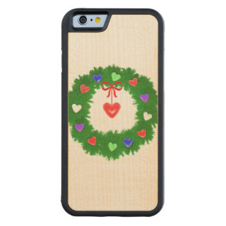Christmas Wreath of Hearts Carved® Maple iPhone 6 Bumper Case