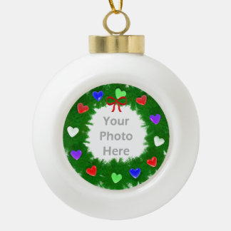 Christmas Wreath of Hearts Ceramic Ball Decoration