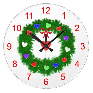 Christmas Wreath of Hearts Round Wall Clock
