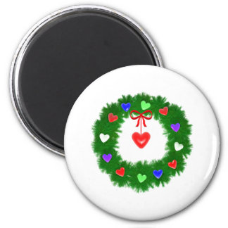 Christmas Wreath of Hearts Magnet