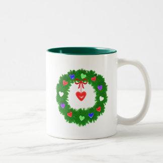 Christmas Wreath of Hearts Mugs