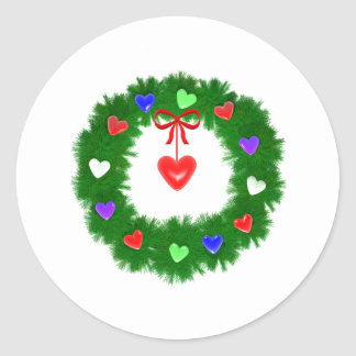 Christmas Wreath of Hearts Sticker
