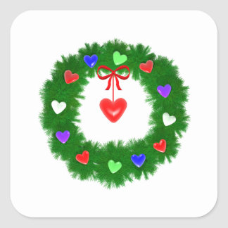 Christmas Wreath of Hearts Stickers