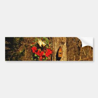 Christmas Wreath Old Bells and Birdhouse Bumper Sticker