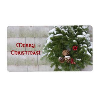 Christmas Wreath On Cedar Wall