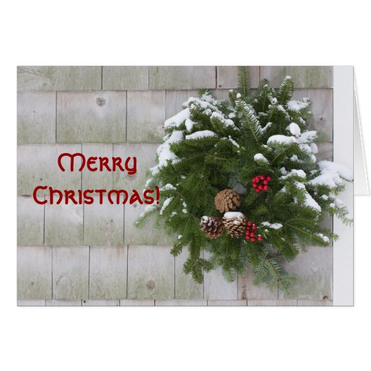 Christmas Wreath On Cedar Wall Card