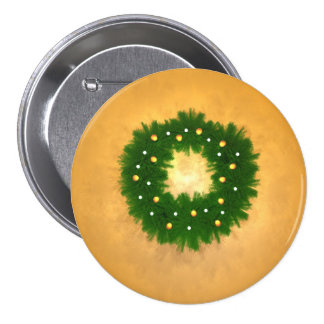 Christmas Wreath on Gold Pinback Buttons
