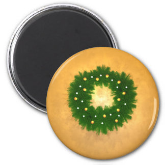 Christmas Wreath on Gold Magnet