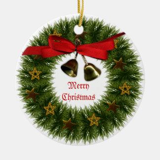 Christmas Wreath Ornament Round Ceramic Ornament