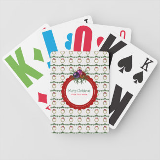 Christmas Wreath Pattern With Holly Custom Bicycle Playing Cards