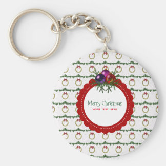 Christmas Wreath Pattern With Holly Custom Key Ring