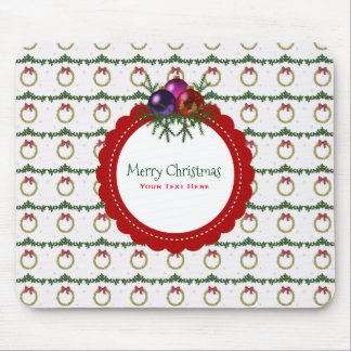 Christmas Wreath Pattern With Holly Custom Mouse Pad