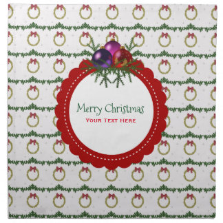 Christmas Wreath Pattern With Holly Custom Napkin