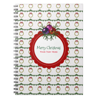 Christmas Wreath Pattern With Holly Custom Notebook
