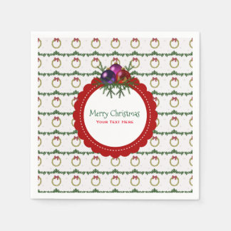 Christmas Wreath Pattern With Holly Custom Paper Napkins