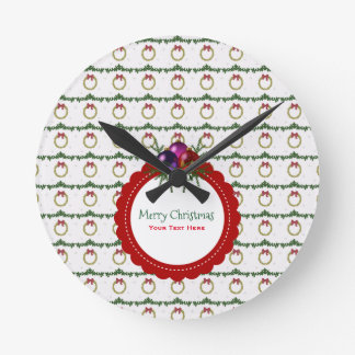 Christmas Wreath Pattern With Holly Custom Round Clock