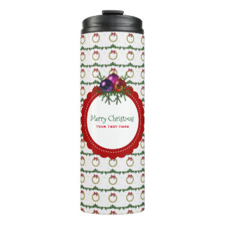 Christmas Wreath Pattern With Holly Custom Thermal Tumbler