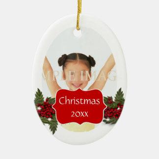 Christmas wreath photo personalize ceramic oval decoration