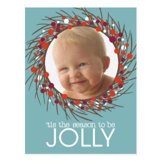 Christmas Wreath Photo Postcard