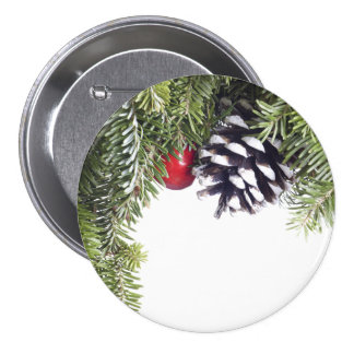 Christmas Wreath Pine Cone Red Berry Template 7.5 Cm Round Badge