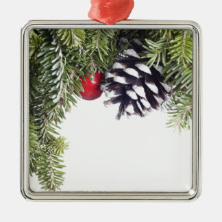 Christmas Wreath Pine Cone Red Berry Template Silver-Colored Square Decoration