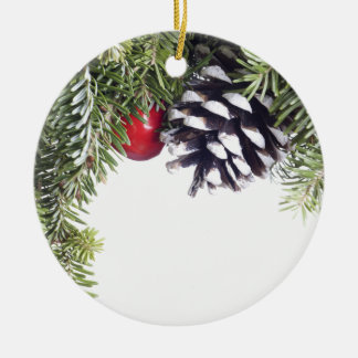 Christmas Wreath Pine Cone Red Berry Template Round Ceramic Decoration